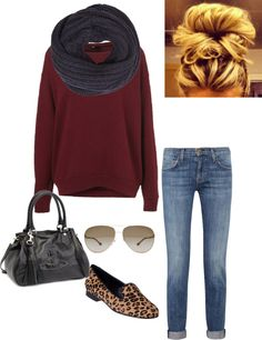 """""""fall casual"""" by ereicha001 on Polyvore. Just normal flats and cross body leather bag."""
