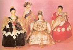 QUEEN VICTORIA'S WOODEN DOLLS - photo of the dolls themselves    These are only four of 132 wooden dolls Queen Victoria had as a child.