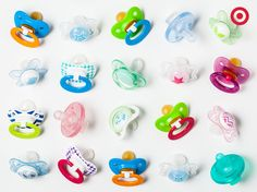 Pacifiers come in all shapes and sizes. Try a few different options to find the perfect pacifier for your baby.