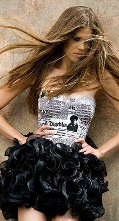 . flower skirt, newspaper skirts, print dress, hot dress, dresses