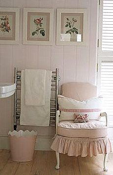 Soft pinks...slipcovered chair