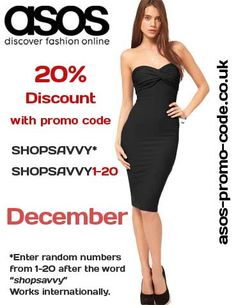 SHOPSAVVY promo code for asos for 20% off.