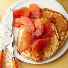 Hint-of-Orange Pancakes with Grapefruit Syrup: This recipe couldn't be simpler!