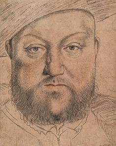 Holbein sketch of Henry VIII. He has a cruel face.