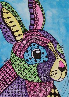 ACEO Le Print Zentangle Bunny Rabbit Animal Doodle Pet Portrait Wildlife Larusc | eBay
