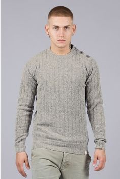 Fly53 Brutus grey cable knit knitted winter jumper