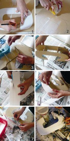 como hacer letras decorativas con papel mache