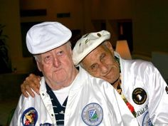 """Babe Heffron and Bill Guarnere. Best Friends Forever. """"After the war I took a walk down Bill's neighbourhood and found him shooting dice on the street. We've been almost inseperable for sixty years since. We've talked on the phone every day, we've had breakfast or lunch together, we take care of each other."""" - Babe talking about Bill p.xxi Brothers in Battle-Best of Friends by Bill Guarnere/Babe Heffron"""