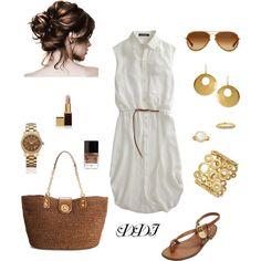 """White Shirt Dress"" by dawndayiannelli on Polyvore"