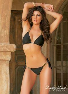 Tainted Love Black Bikini by Lady Lux® #blackbikini #blackswimsuit #LadyLux #trianglebikini #taintedlove #ladylux #luxuryswimwear