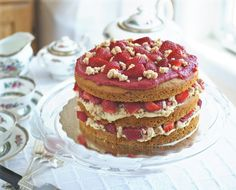 Remake of Fine Cooking's Strawberries and Cream Layer Cake, #ACD-Friendly and Allergen-Free (#vegan, #dairyfree)
