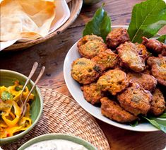 Annabel Langbein - Vegetable Pakoras are easy and delicious nibbles, perfect with my cucumber raita and papaya and coriander with lime.