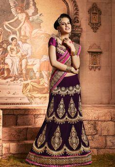USD 221.18 Violet Net Wedding Lehenga Saree  34082