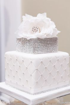 Rhinestone cake topper Jenifer Morris Photography