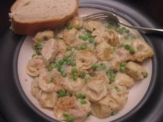 My go-to comfort food: Cheesy chicken tortellini bake; a Pampered Chef recipe.