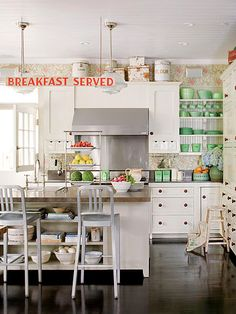 Stainless, whites, green, red & open shelves...bright and clean