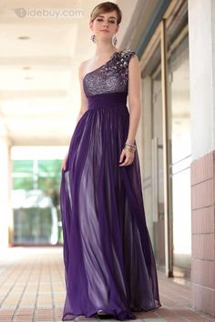 A-Line Floor-Length One-Shoulder Beading Evening Gown