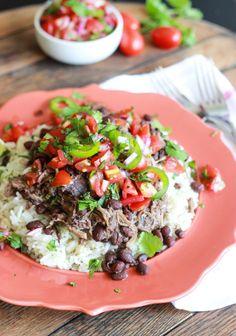 Little Broken | Crockpot Cuban Pork with Beans and Fresh Tomato Salsa | http://www.littlebroken.com