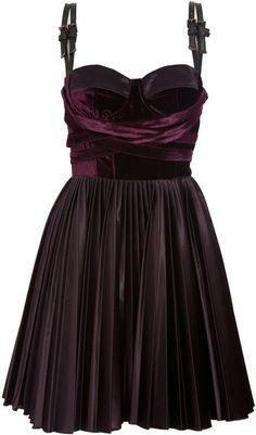 Versus Purple Velvet Dress with Leather Straps | elfsacks