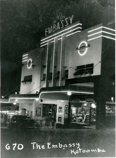 Embassy Theatre by night, Katoomba, 1938 with milk bar
