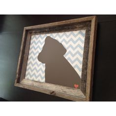 Dog silhouette on chevron print in rustic frame. Anniversary gift for my husband.
