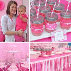 Loving the ribbon table trim and pink lace on the mason jars
