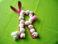 Alphabet Letter R is for Rabbit (made with cotton balls)