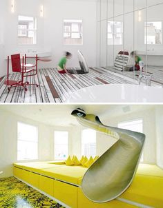 A secret slide to to a secret room! I will totally have this one day!