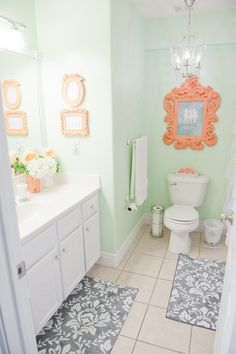 Mint & Coral Bathroom - must-have for main floor powder room (tying in coral living room accents, mint kitchen tiling and grays in living room and dining room)