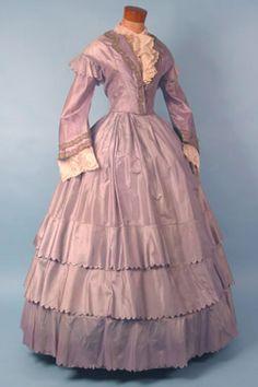 Dress, 1850's, Karen Augusta Antique Lace & Fashion antique lace, antiqu lace, 1850s fashion, 1850s dress