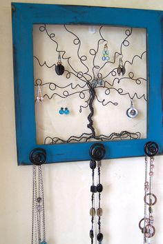 Jewelry Tree Frame Jewelry Organizer - Whimsical Necklace and Earring Wall Storage Distressed Teal - 14 inches - Made to Order