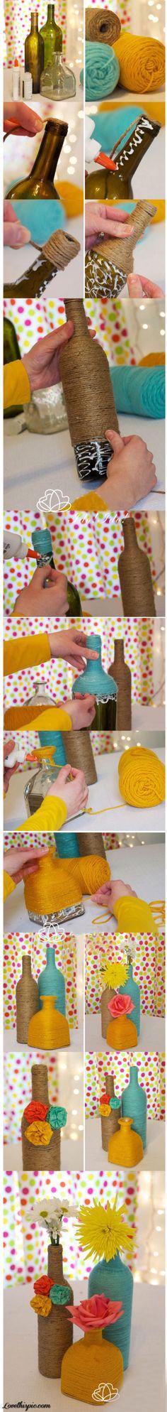 DIY Yarn Bottles diy crafts craft ideas easy crafts diy ideas diy idea diy home diy vase easy diy for the home crafty decor home ideas diy decorations
