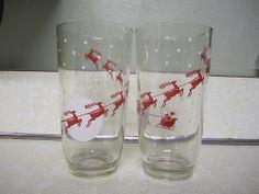 Vintage Santa Riendeer Sled Glass Set Jelly Fruit Jar Drinking Glass