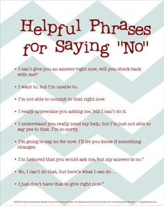 Free Printable: Helpful Ways To Say NO
