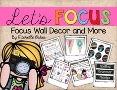 Focus Wall Decor, Phonics Cards, Grammar Cards, Math Vocab Cards and more.