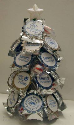 Wow - Candy Tree out of Peppermint Patties and decorated.  Very nice.  Great centerpiece or gift.