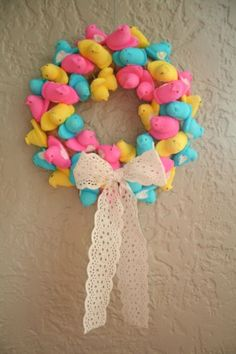 Peep Wreath. Took more boxes than called for. I bought all 4 colors of peeps, 3 sleeves per color.