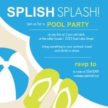 Pool Party Invites & Pool Party Birthday Invitations