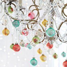 Christmas chandelier holiday, christma chandeli, color, blown glass, glass ornaments, christmas party table ideas, christmas chandelier, fabul christma, vintage christmas ornaments