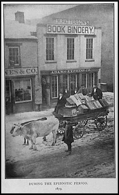 In the 1870's, Epizootic developed      among the horses in Scioto County. Epizootic is a disease which attacks many subjects in a region at the same time but is only occasionally present in the population; when it occurs, it is widely diffused and rapidly spreading.  The Adams Express Company had to  replace the horses with oxen to make their deliveries.