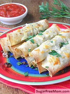 Oven Fried Mexican Turkey Taquitos \ sugarfreemom.com