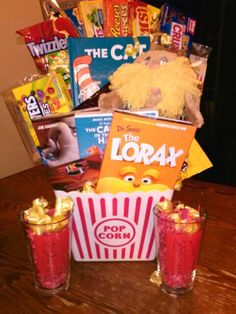 Dr. Seuss movie night gift basket idea. I made this to raffle off and added books too.