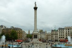Trafalgar Square is a public space and tourist attraction in central London, built around the area formerly known as Charing Cross. It is in the borough of the City of Westminster. At its centre is Nelson's Column, which is guarded by four lion statues at its base. There are a number of statues and sculptures in the square, with one plinth displaying changing pieces of contemporary art. The square is also used for political demonstrations and community gatherings.