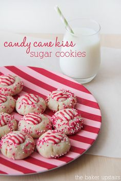 Delicious Candy Cane Kiss Sugar Cookies { lilluna.com } #cookies cane kiss, delici candi, candi cane, kiss sugar, candy canes, candycane cookies, holiday foods, christma, dessert