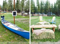 Canoe filled with ice and drinks for your guests!