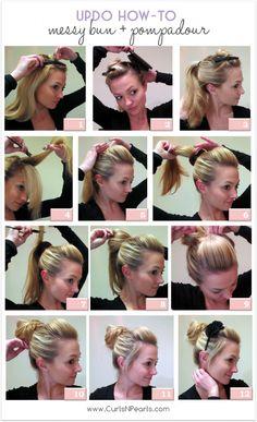 pompadour, hair tutorials, pouf, hair beauty, messy buns