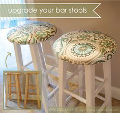 My Boju Life: DIY Bar Stool Upgrade- these look EXACTLY like my bar stools (the before version) and I can not wait to do this to coordinate with my house and make them so cute!