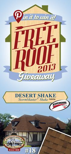 Re-pin this gorgeous StormMaster Shake Desert Shingle for your chance to win in the Sherriff-Goslin Pin It To Win It FREE ROOF Giveaway. Available in Sherriff-Goslin service area only. Re-pin weekly for more chances to win! | Stay Updated! Click the following link to receive contest updates. http://www.sherriffgoslin.com/repin Learn More about this shingle here: http://www.sherriffgoslin.com/tabbed.php?section_url=142