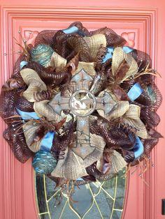 Cowboy Cross Mesh wreath by Glitzy Wreaths! www.facebook.com/glitzywreaths