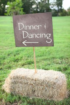 Signs in haybales